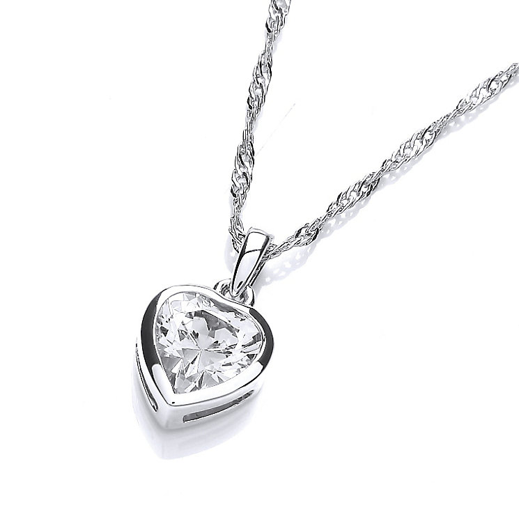 Buckley Rhodium Plated Cubic Zirconia Heart Pendant - Product number 2349426