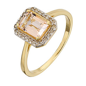 9ct Yellow Gold Rectangular Morganite and Diamond Ring - Product number 2349507