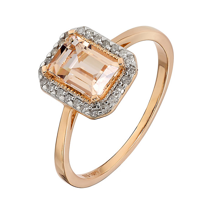 9ct Rose Gold Rectangular Morganite and Diamond Ring - Product number 2349647