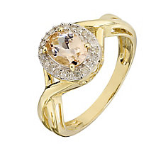 9ct Yellow Gold Oval Morganite and Diamond Crossover Ring - Product number 2349787