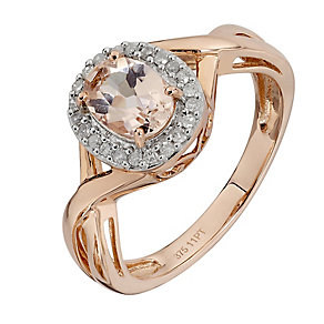 9ct Rose Gold Oval Morganite and Diamond Crossover Ring - Product number 2350033