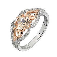 Silver & 9ct Rose Gold Morganite & Diamond Ring - Product number 2350297