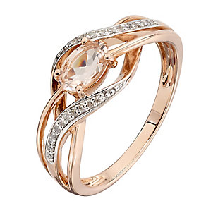 9ct Rose Gold Morganite & Diamond Twist Ring - Product number 2350580