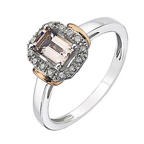 Sterling Silver & 9ct Rose Gold Diamond & Morganite Ring - Product number 2350742