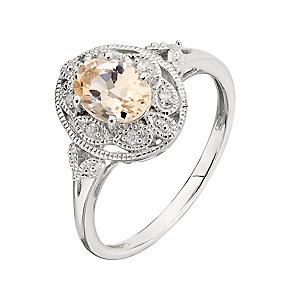 Sterling Silver Vintage Oval Morganite & Diamond Ring - Product number 2350874