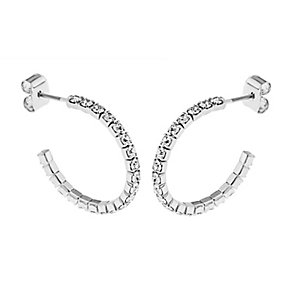 Rhodium Plated 20mm Crystal Hoop Earrings - Product number 2351005
