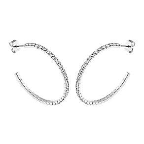 Silver Plated 35mm Crystal Hoop Earrings - Product number 2351048