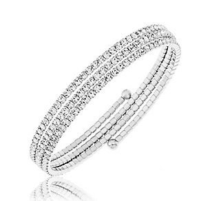 Silver Plated Crystal Set Wraparound Bangle - Product number 2351102