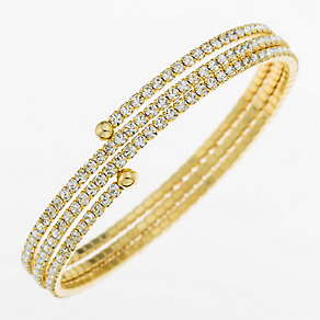 Yellow Gold Plated Crystal Set Wraparound Bangle - Product number 2351129
