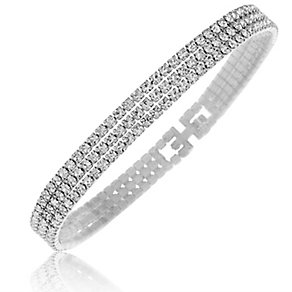 Rhodium Plated Crystal Set Triple Strand Bracelet - Product number 2351137