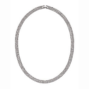 Silver Plated Crystal Set Triple Strand Necklace - Product number 2351218