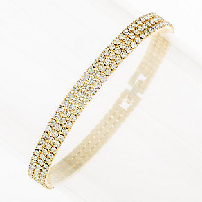 Yellow Gold Plated Crystal Set Triple Strand Bracelet - Product number 2351390