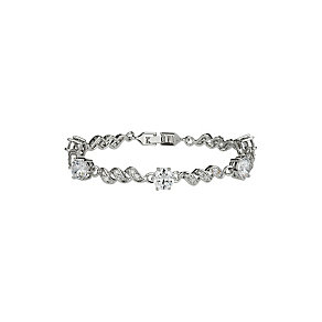 Mikey Crystal Set Swirl Design Silver Tone Bracelet - Product number 2351471