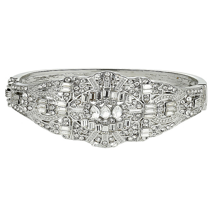 Mikey Silver Tone Crystal Set Bangle Bracelet - Product number 2351498