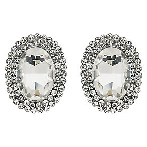 Mikey Silver Tone Large Crystal Oval Stud Earrings - Product number 2351528