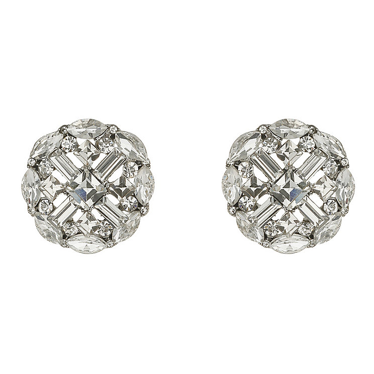 Mikey Silver Tone Cross Design Crystal Set clip on Earrings - Product number 2351552