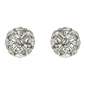 Mikey Silver Tone Cross Design Crystal Set Stud Earrings - Product number 2351552