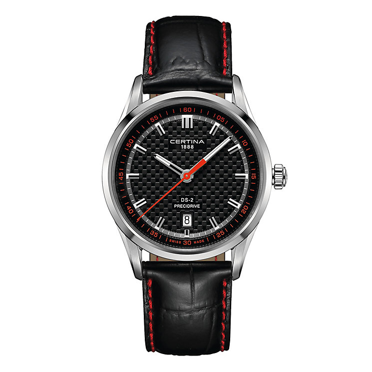 Certina DS2 men's stainless steel black leather strap watch - Product number 2351609