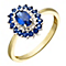 Gold & Silver Created Sapphire & Cubic Zirconia Cluster Ring - Product number 2351781