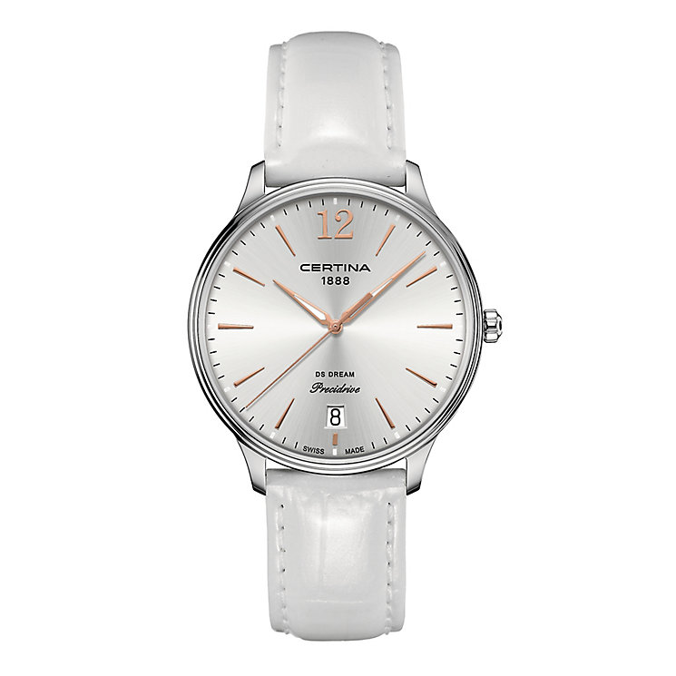 Certina DS Dream stainless steel white leather strap watch - Product number 2352664