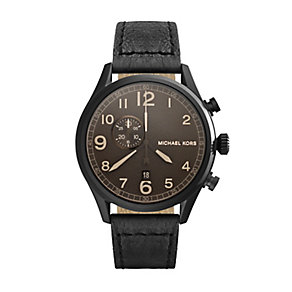 Michael Kors Gents Ion Plated Leather Strap Watch - Product number 2353350