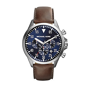 Michael Kors Gents Stainless Steel Leather Strap Watch - Product number 2353385