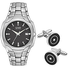 Citizen Eco-Drive Men's Bracelet Watch & Cufflinks Set - Product number 2353539