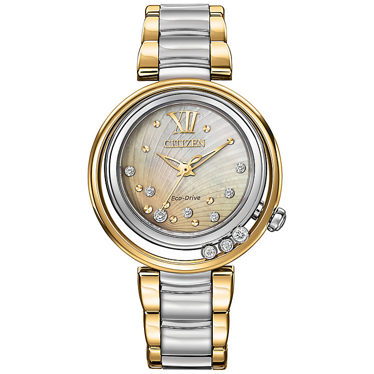 Citizen Eco Drive Ladies' Two Colour Diamond Bracelet Watch - Product number 2353598