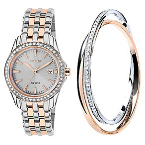 Citizen ladies' two colour bracelet watch & bangle set - Product number 2353601