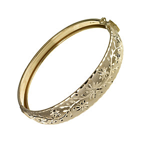 9ct yellow gold hand engraved bangle - Product number 2353857