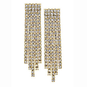14ct gold-plated 4 row crystal earrings - Product number 2358573