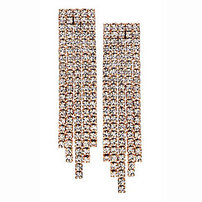 14ct rose gold-plated four row crystal earrings - Product number 2358581