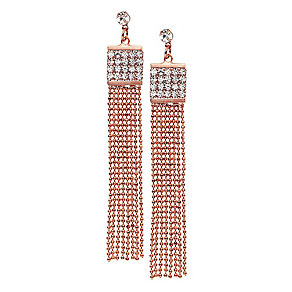 14ct rose gold-plated beaded chain tassle crystal earrings - Product number 2358670