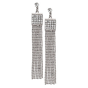 14ct silver-plated beaded chain tassle crystal earrings - Product number 2358689
