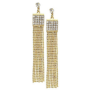 14ct gold-plated beaded chain tassle crystal earrings - Product number 2358697