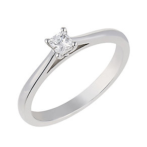 18ct white gold 15 point princess cut diamond solitaire ring - Product number 2359081
