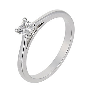 18ct White Gold 0.25CT Diamond Princess cut solitaire ring - Product number 2359227