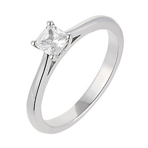 18ct white gold 0.33 carat diamond princess cut solitaire - Product number 2359359