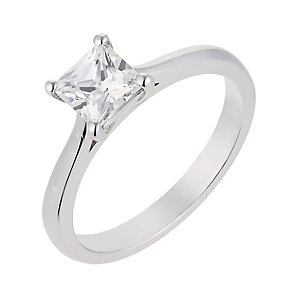 18ct white gold 1 carat princess cut diamond solitaire ring - Product number 2359480
