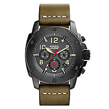 Fossil Modern Machine men's olive green leather strap watch - Product number 2363003