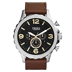 Fossil Nate Chronograph men's tan leather strap watch - Product number 2363038