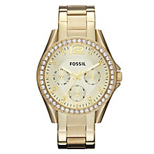 Fossil Riley ladies' chronograph gold-plated bracelet watch - Product number 2363046