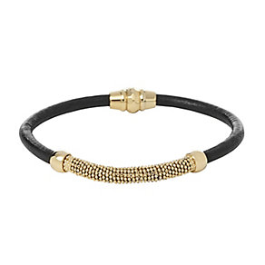 Fossil ladies' black leather gold-plated bracelet - Product number 2363216