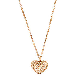 Fossil rose gold-plated pave heart necklace - Product number 2363267