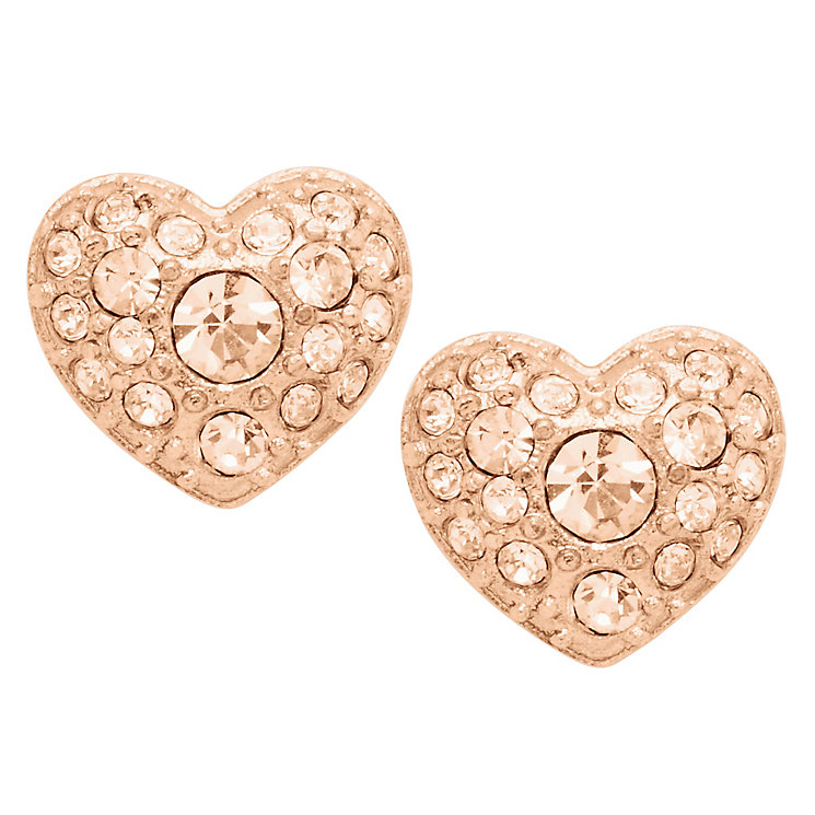 fossil rose gold tone glitz heart stud earrings ernest jones. Black Bedroom Furniture Sets. Home Design Ideas