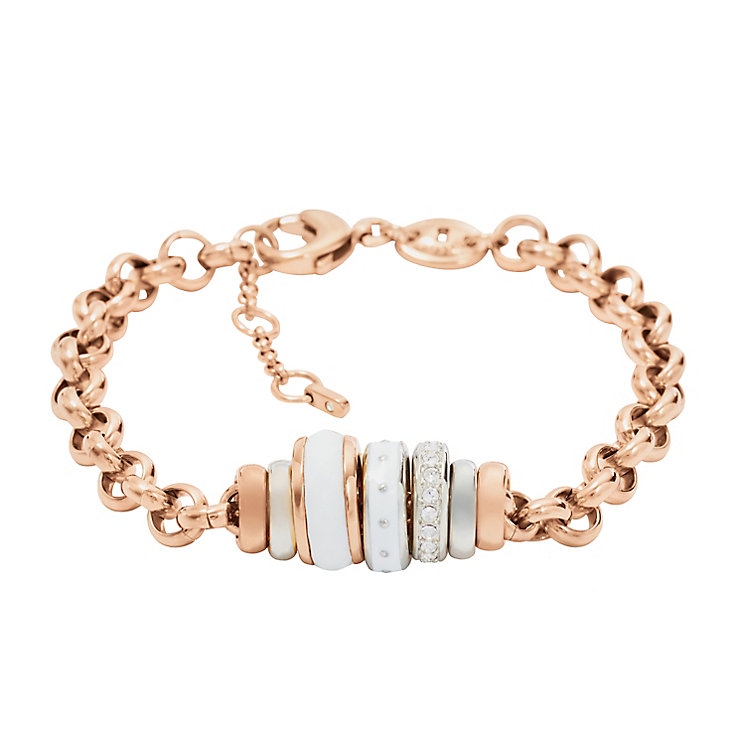 Fossil ladies' rose gold-tone beaded bracelet - Product number 2363321