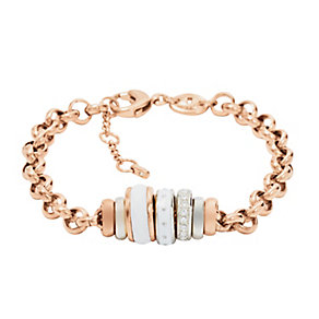 Fossil ladies' rose gold-plated beaded bracelet - Product number 2363321