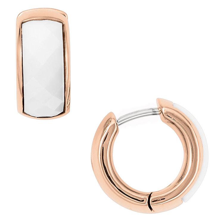 Fossil rose gold-tone enamel hoop earrings - Product number 2363356