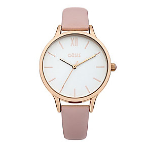 Oasis Ladies' White Dial Pink Strap Watch - Product number 2364190