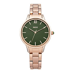 Oasis Ladies' Green Dial Rose Gold Tone Bracelet Watch - Product number 2364212